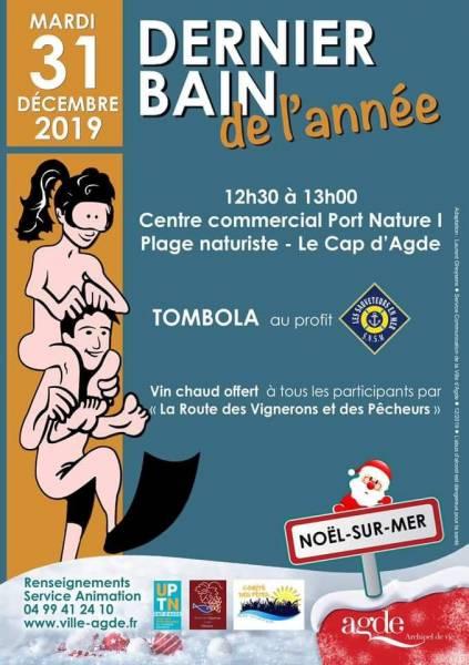 Dernier bain  de l'année 2019 Cap d'Agde Naturiste