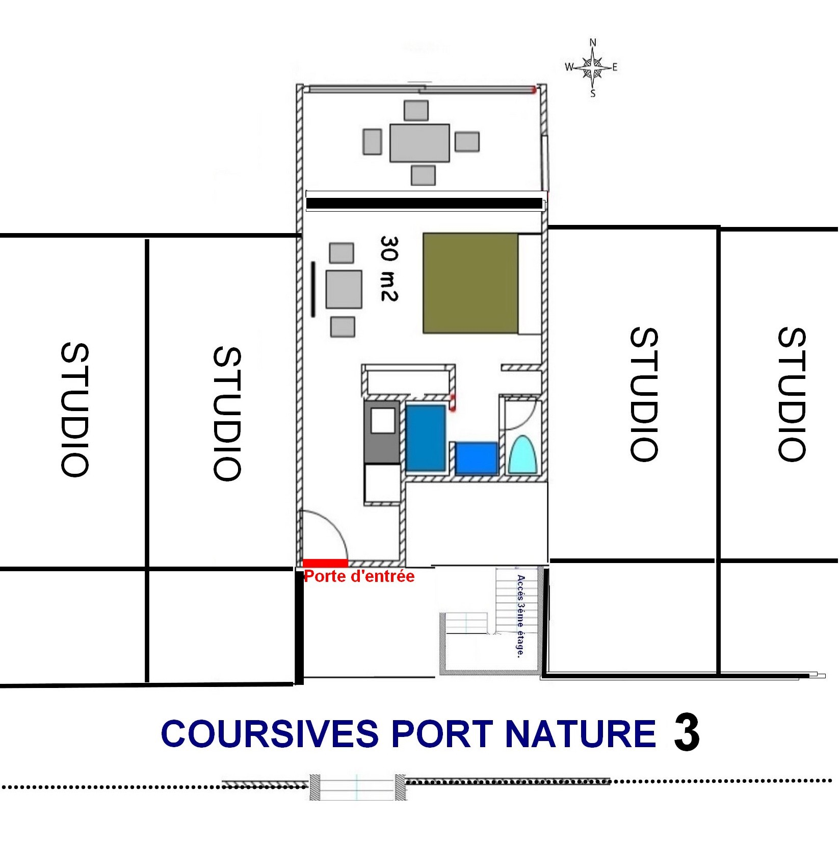 Plan studio Port Nature 3 Cap d'Agde Naturiste